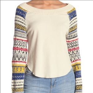 Free People Fairground Thermal Top Ivory Size XS